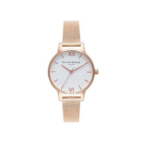 Olivia Burton White Dial Rose Gold Mesh Watch - OB16MDW01