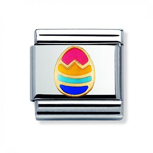 Nomination Gold Multi-coloured Easter Egg Charm Link - 330242/11