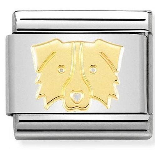 Nomination Gold Border Collie Charm Link - 030162/59