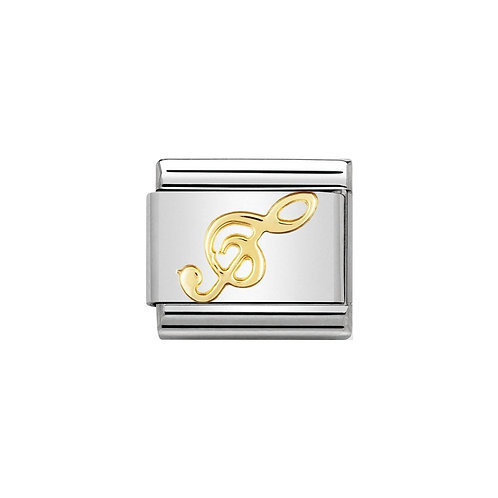 Nomination Gold Treble Clef Charm Link - 030117/08
