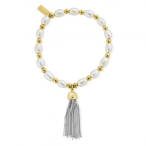 ChloBo Silver Medium Pearl Gold Cap Tassel Bracelet - GBPMED945