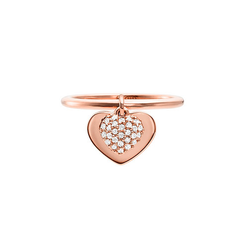 Michael Kors Sterling Silver Rose Gold Duo Heart Ring