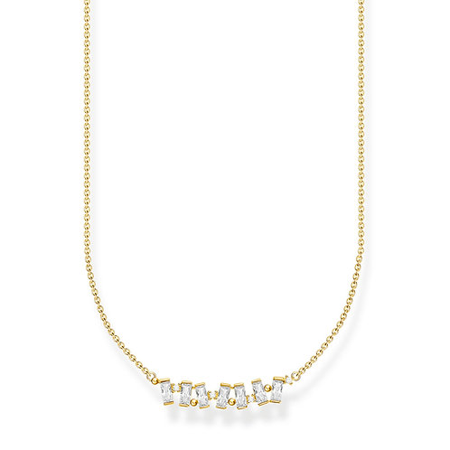 Thomas Sabo Gold CZ Baguette Necklace - KE2095-414-14