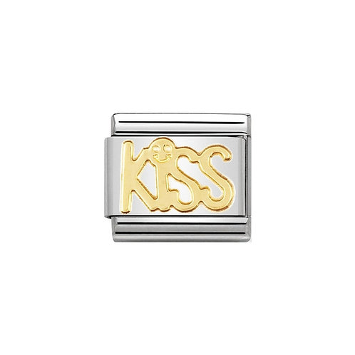 Nomination Gold Kiss Writing Charm Link - 030107/08