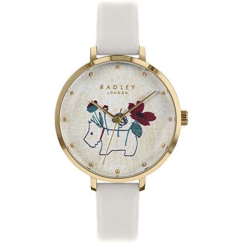 RADLEY Ladies Floral Dog Chalk Leather Strap Watch - RY2684