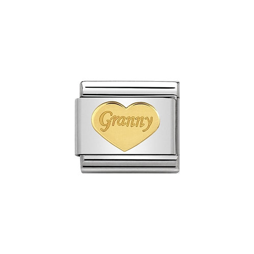 Nomination Gold Granny Heart Plate Charm Link - 030162/39