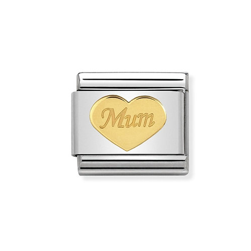 Nomination Gold Mum Heart Plate Charm Link - 030162/38