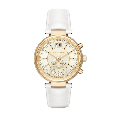 Michael Kors Gold Tone Sawyer White Leather Bracelet Strap Watch MK2528