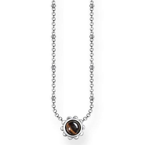 Thomas Sabo Sterling Silver Ethno Brown Tigers Eye Necklace - KE1669-878-17-45v