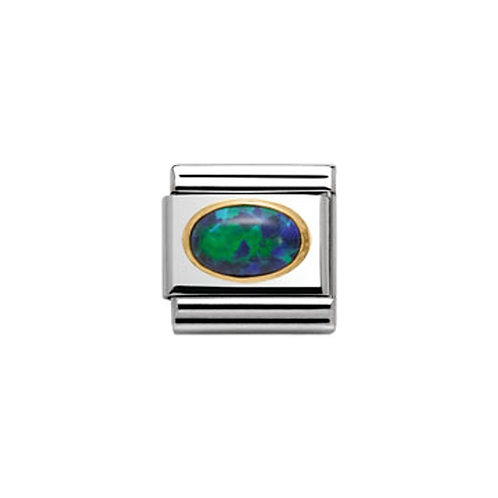 Nomination Gold Oval Green Opal Charm Link - 030502/26