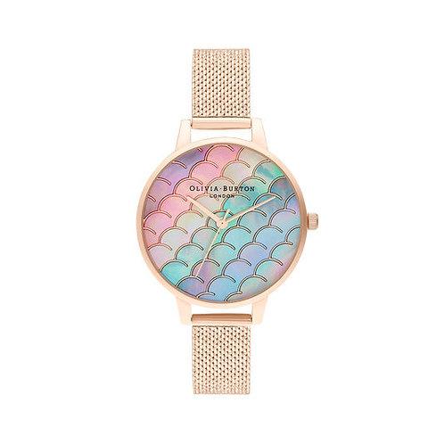 Olivia Burton Mermaid Tail Demi Dial Rose Gold Mesh Strap Watch - OB16US45