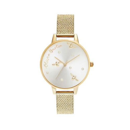 Olivia Burton Gold Pearly Queen Mesh Strap Watch - OB16PQ06