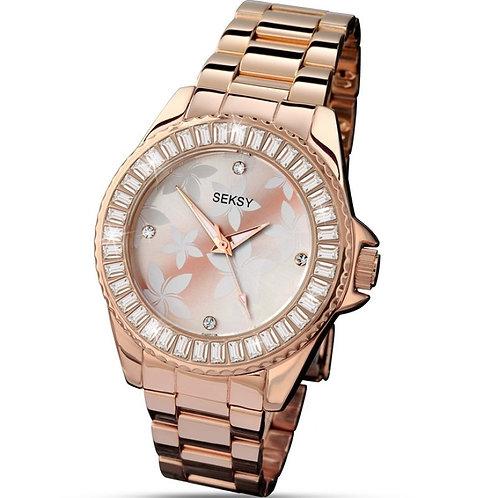 Sekonda Seksy Ladies Rose Gold Tone Floral Face Watch - 4655