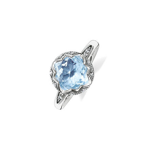 Thomas Sabo Silver and Light Blue Purity of Lotus Ring - TR2028-644-1-58