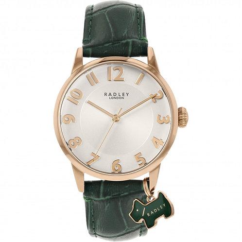 RADLEY Ladies Deep Green Embossed Leather Strap Watch - RY2870
