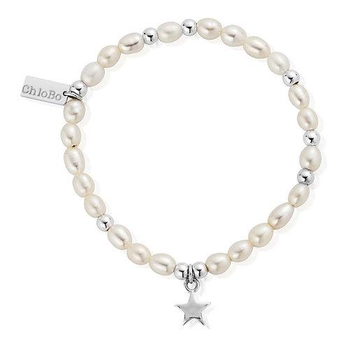 ChloBo Pearl and Silver Star Mini Bracelet - SBPMIN206