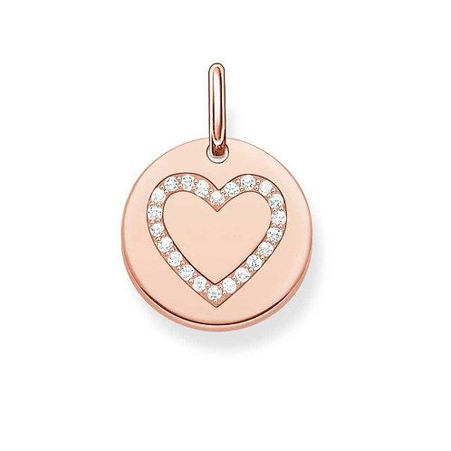Thomas Sabo Rose Gold Tone CZ Love Heart Love Coin Pendant - LBPE0005-416-14