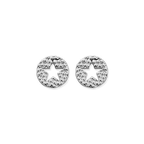 ChloBo Sterling Silver Sparkle Star in Circle Stud Earrings - SEST3072