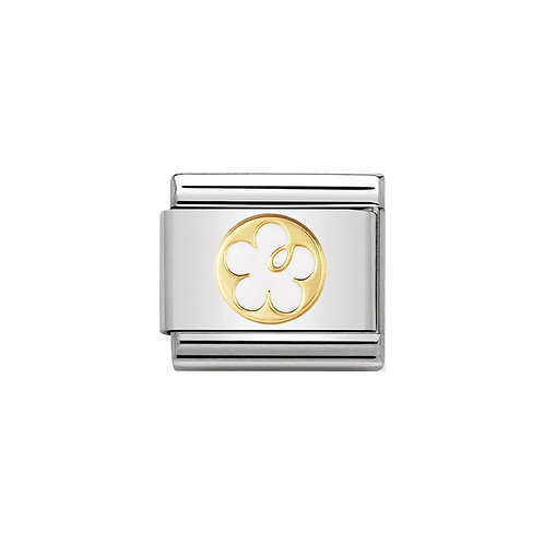 Nomination Gold Classic White Flower Charm Link - 030279/05