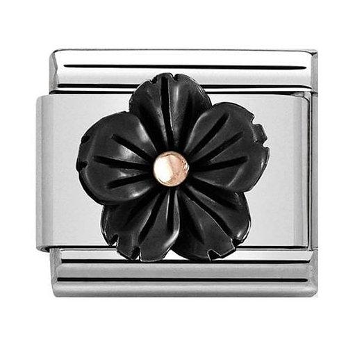 Nomination Rose Gold Black Onyx Paste Flower Charm Link - 430510/01