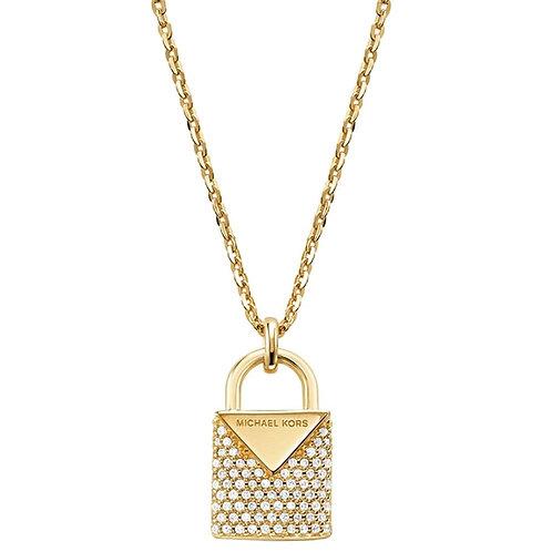 Michael Kors Gold Padlock Pendant Charm Necklace