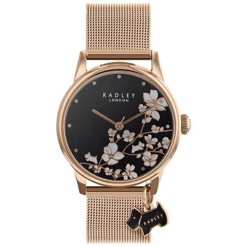 RADLEY Ladies Rose Gold Tone Trailing Flower Mesh Strap Watch - RY4346