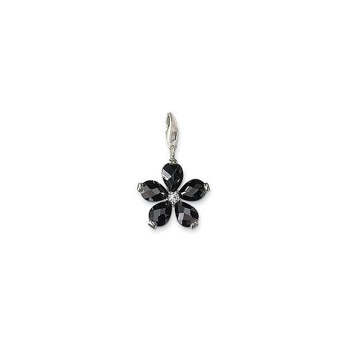Thomas Sabo Silver Black CZ Flower Pendant Charm - T0124-051-18