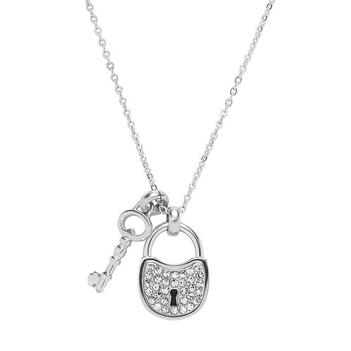 Fossil Clear CZ Pendant Lock and Key Charm Necklace