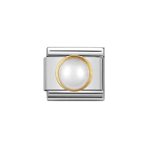 Nomination Gold White Mother of Pearl Round Charm Link - 030503/12