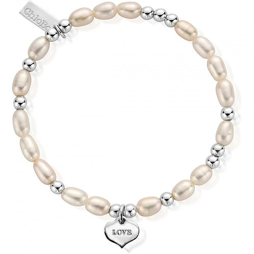 ChloBo Sterling Silver Love Always Freshwater Pearl Bracelet - SBPMIN204