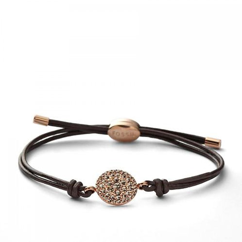 Fossil Stainless Steel Rose Gold Brown Cord Bracelet