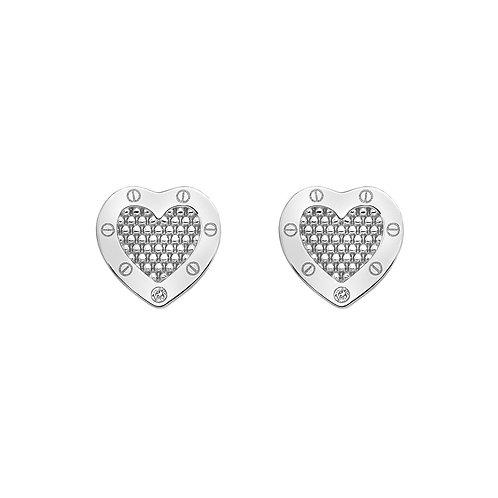 Hot Diamonds Sterling Silver Lock in Love Heart Earrings
