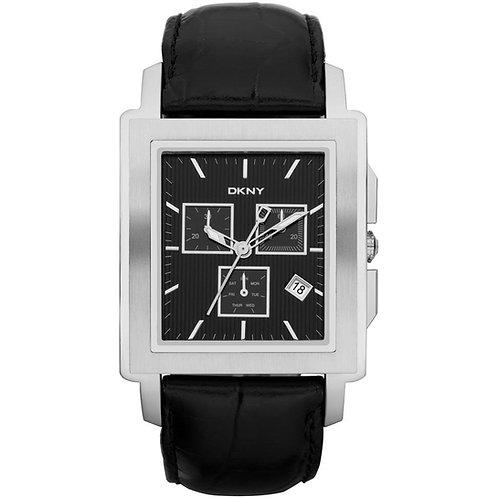 DKNY Mens Chronograph Black Leather Strap Watch - NY1500