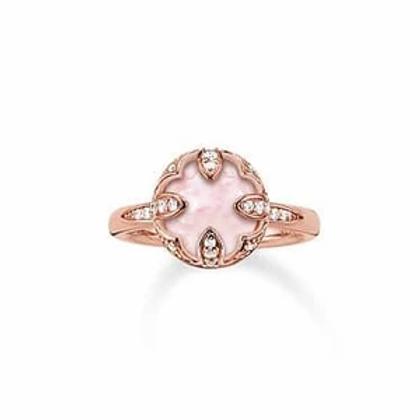 Thomas Sabo Silver Rose Quartz Purity of Lotus Ring - TR2027-537-9