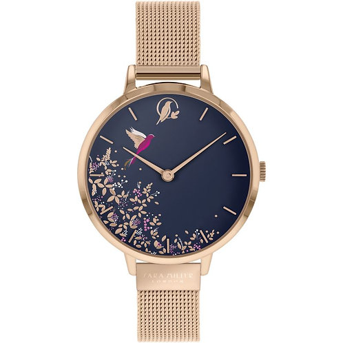 SARA MILLER - Blue Hummingbird Rose Gold Mesh Strap Watch - SA4016