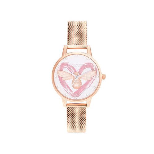 Olivia Burton You have My Heart Lucky Bee Rose Gold and Silver Watch - OB16FB01