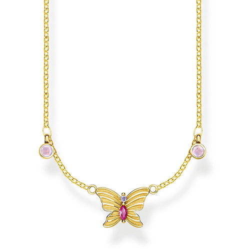 Thomas Sabo Sterling Silver Gold Plated Butterfly Necklace - KE1951-488-7