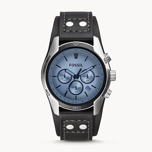 FOSSIL Coachman Chronograph Black Leather Strap Watch -CH2564
