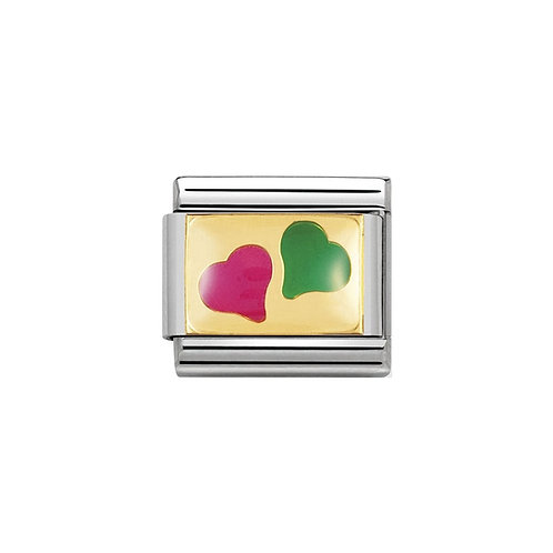Nomination Gold Classic Pink and Green Love Hearts Charm Link - 030253/14