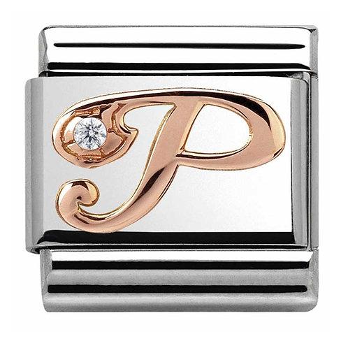 Nomination Rose Gold P Letter Charm Link  - 430310/16