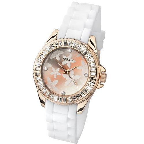 Sekonda Seksy Ladies Rose Gold Tone Floral Face Watch - 4560