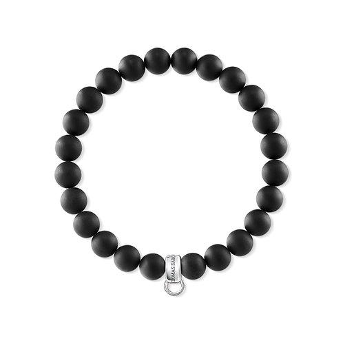 Thomas Sabo Silver Charm Club Black Matt Obsidian Bracelet - X0219-023-11