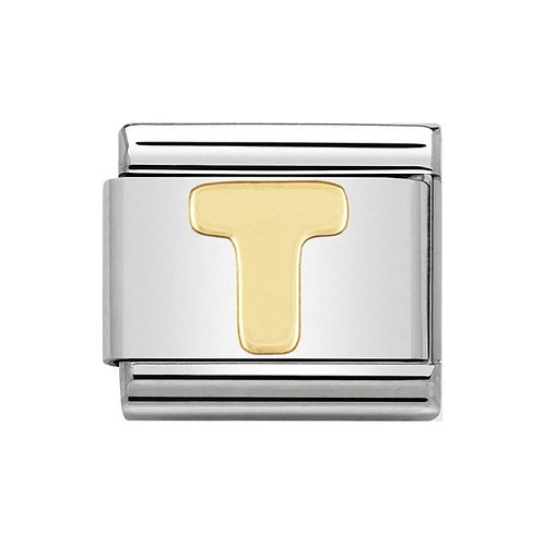 Nomination Gold Initial T Charm Link -030101/20