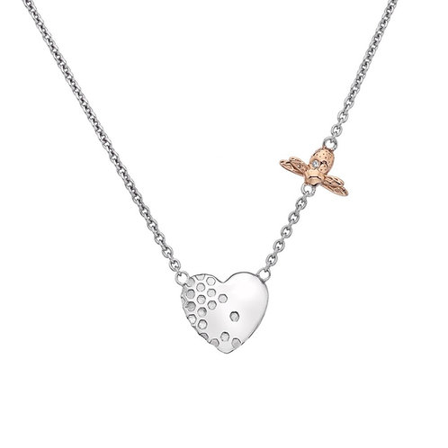Hot Diamonds Honey Bee Heart Sterling Silver and Rose Gold Bee Necklace - DN146