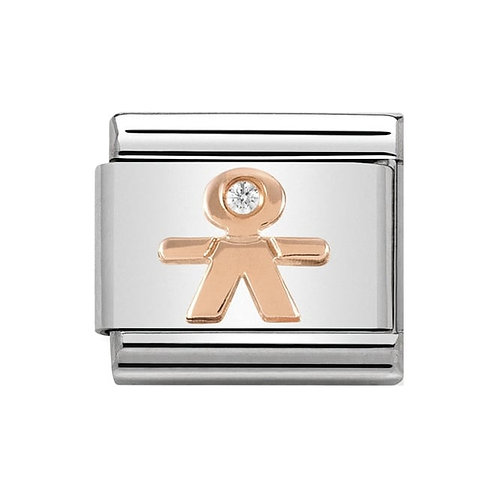Nomination Rose Gold Little Boy with Cubic Zirconia Charm Link  - 430305/08