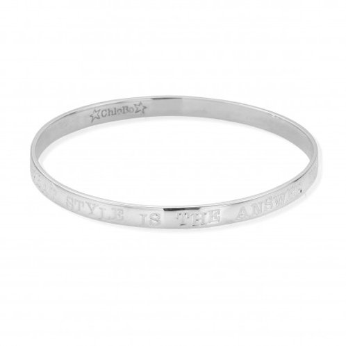 ChloBo Sterling Silver 'Great Style' Bangle Size Small
