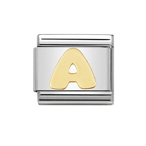 Nomination Gold Initial A Charm Link -030101/01