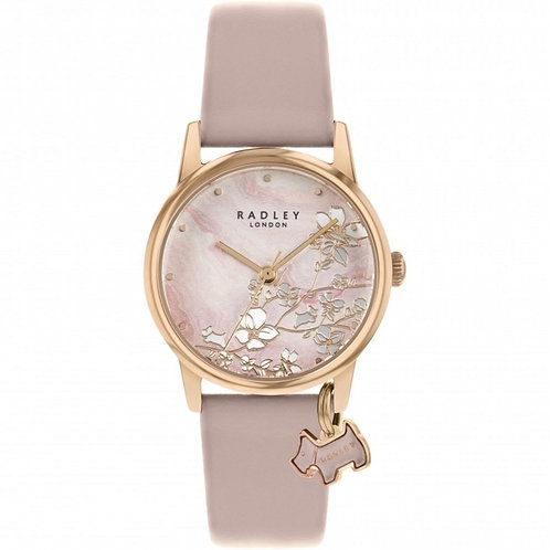 RADLEY Ladies Botanical Floral Pink Leather Strap Watch - RY2884