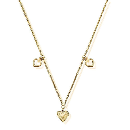 ChloBo Sterling Silver 24ct Gold Plated Triple Heart Necklace