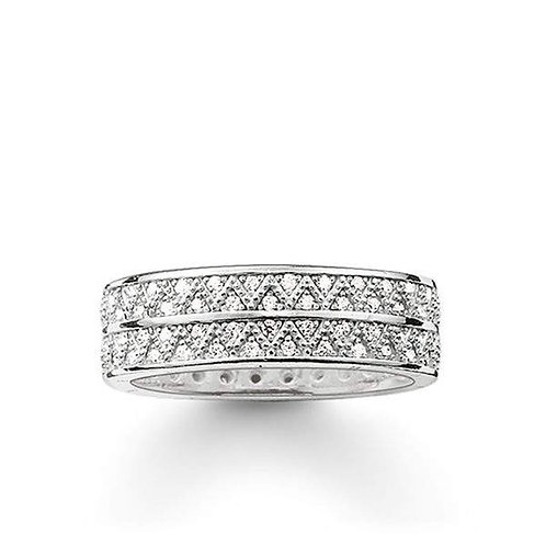 Thomas Sabo Silver Two Row Zigzag CZ Ring - TR2051-051-14-54